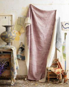 Pastel Dip-Dyed Tablecloth in an Artist's Studio, Remodelista