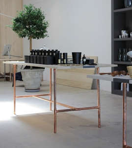 Copper Pipes as Table Legs at Garde in Los Angeles, Remodelista