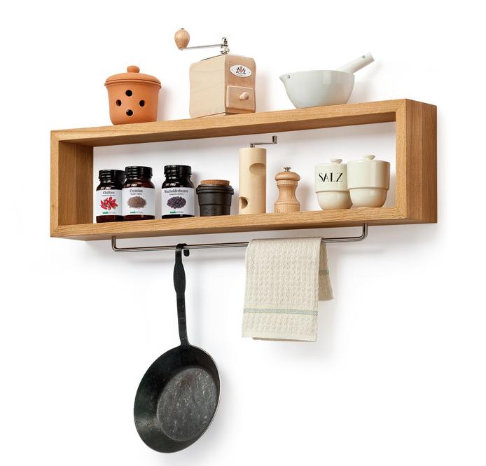 DIY: Wooden Kitchen Shelf With Rail