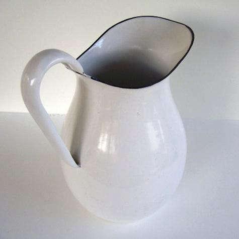 farmhouse-white-enamel-pitcher