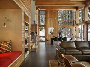 DeForest-Architects-Lake-Wenatchee-living-area-western-red-cedar-ceiling-wall-panels-glulam-beams