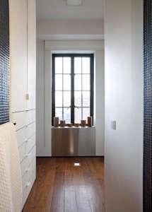 Transformer-Apartment-Studio-Garneau-wood-floors-white-walls-bathroom-cobalt-blue-mosaic-tiles-dressing-area