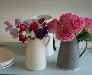 Rachel-Dormer-gray-white-pitchers-vases-pink-purple-flowers