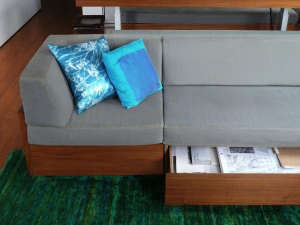 Transformer-Apartment-Studio-Garneau-green-carpet-sofa-open-drawer