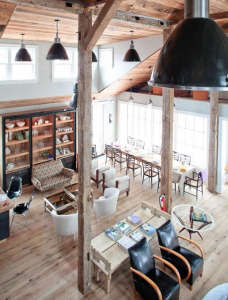 Sag-Harbor-Monc-XIII-Natasha-Esch-Mathew-Coffin-dramatic-double-height-space-rustic-wood-columns
