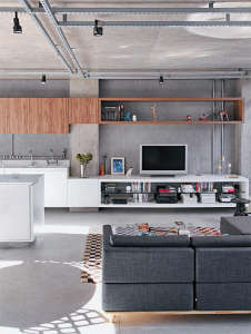 Philip-Scroback-reinforced-concrete-house-integrated-kitchen-exposed-electrical-pipes-and-tracks