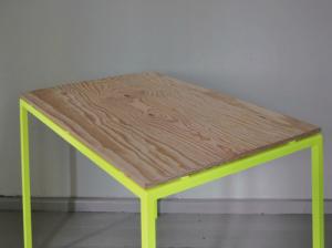 Remodelista-Kolor-florescent-metal-plywood-table