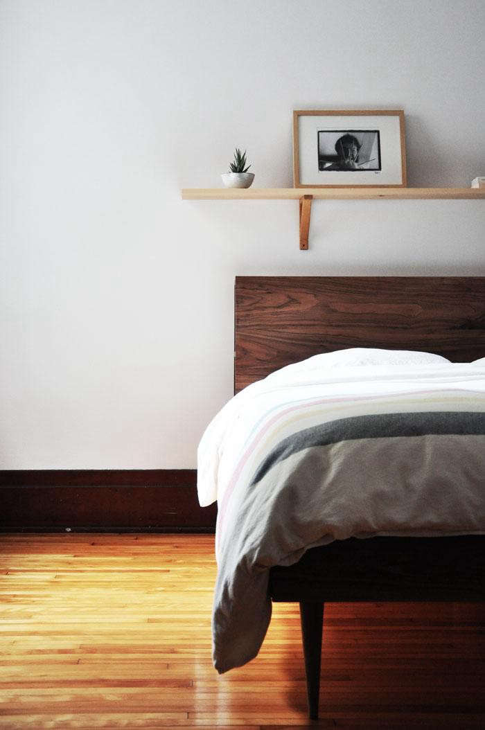 A Wooden Storage Headboard Made With Walnut And Love