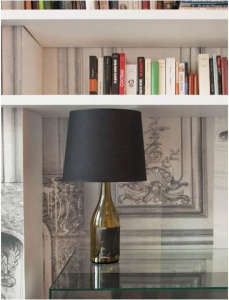Hotel La Maison Champs-Elysees, Maison Martin Margiela, salvaged bottle lamp with black lampshade, Line 13 collection