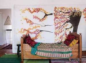 Antique textiles and furniture in a home in Mexico