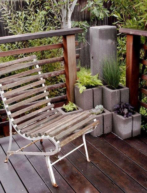 diy-concrete-planters-white-iron-chair