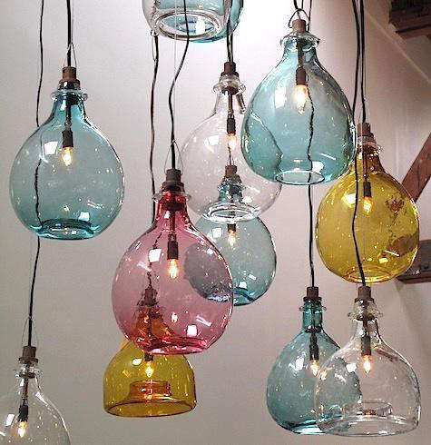 above glass jug pendant lamps inspired by vintage wine jugs are available with a rounded or flat bottom the small size 11 inches high is 395 and the blown glass pendant lighting