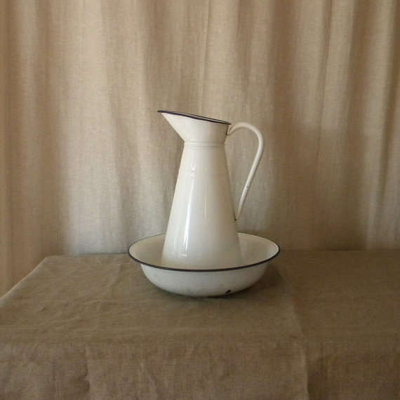 Vintage French Enamel Pitcher And Basin Remodelista