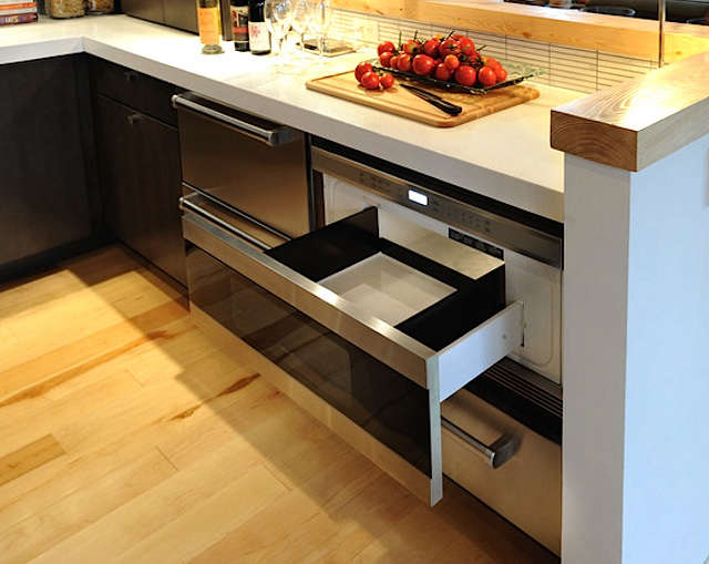 Under Counter Microwave For Easier Works: Wolf Stainless Steel Microwave Oven Drawer: Remodelista