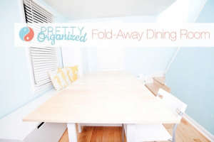 DIY-Folding-table-&-children's-storage-furniture-c, Remodelista: Best Dining Space, We added tons of storage to our tiny entryway, creating a budget-friendly hidden dining room. DIY dining table has built-in storage & folds into an entryway table. Repurpo