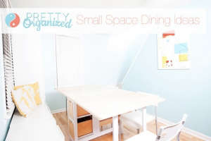 Entryway-table-folds-out-into-dining-table-that-se, Remodelista: Best Dining Space, We added tons of storage to our tiny entryway, creating a budget-friendly hidden dining room. DIY dining table has built-in storage & folds into an entryway table. Repurpo