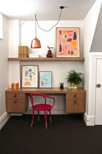 Drummond-St-study-nook, Remodelista: Best Office Space, We created this bespoke study nook in a small apartment in Melbourne's inner city. Constructed in oak with customised leather handles and filled with bright artwork, we wanted a fun and inspiring p