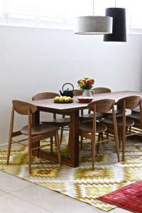 South-Yarra-apartment-dining-space, Remodelista: Best Dining Space, We created this dining space in what was a large and clinical living area. We've warmed it up with texture and natural materials. Rich recycled timber, textured hand woven rugs, linen d
