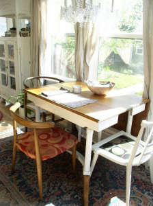 Garden-view-and-collection-of-Mid-century-Mod-dini, Remodelista: Best Dining Space, I turned a poorly constructed eye sore add-on into a refreshing dining space leading from the kitchen to the back garden.  The main house is a charming two-story, built in