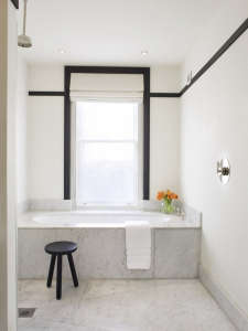 Black-moulding-provides-a-graphic-edge, Remodelista: Best Bedroom Space, With a love of the bathrooms you often find in grand European hotels of a by gone age, the client wanted the bathroom to feel classic yet to be filled with contemporary conveniences.
