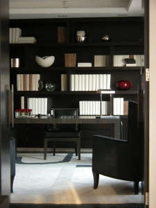 Study,-London-Penthouse,-by-Carter-Tyberghein, Remodelista: Best Office Space, Bespoke joinery in Indian Rosewood sets the scene in this masculine study for a company chairman. Full height doors emphasize scale and space. A muted colour palette, a wool an