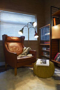 A-reading-area-was-created-in-the-study,-using-con, Remodelista: Best Office Space, The client wanted to be able to get maximum use from a naturally dark, smallish space that could be used for work as well as a place to relax and entertain clients. Approp