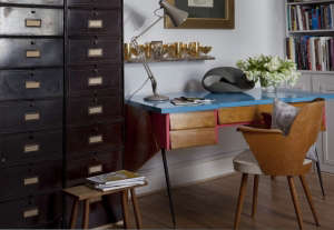 The-vintage-desk-was-bought-at-auction-and-is-by-T, Remodelista: Best Office Space, The client wanted to be able to get maximum use from a naturally dark, smallish space that could be used for work as well as a place to relax and entertain clients. Approp