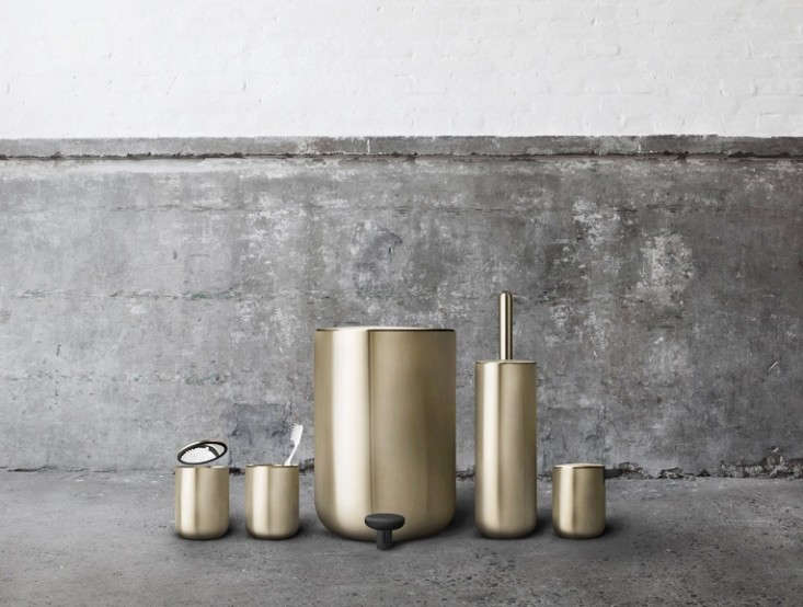 The modern bath new essentials from copenhagen remodelista for Brushed gold bathroom accessories
