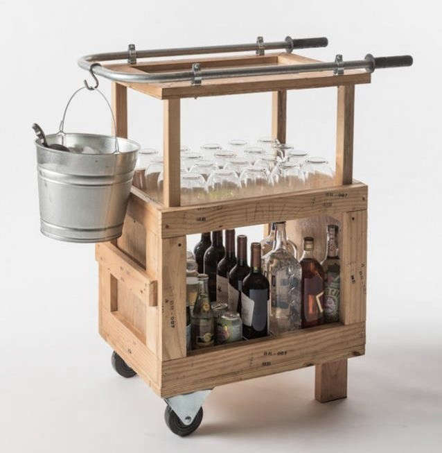 A bar cart made from pallets remodelista for Pallet wall on wheels