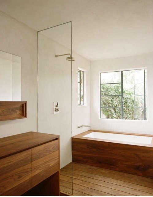 10 favorites exotic wood in the bath remodelista for Teak wood flooring for bathrooms