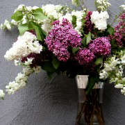 arrangement with lilac and spirea