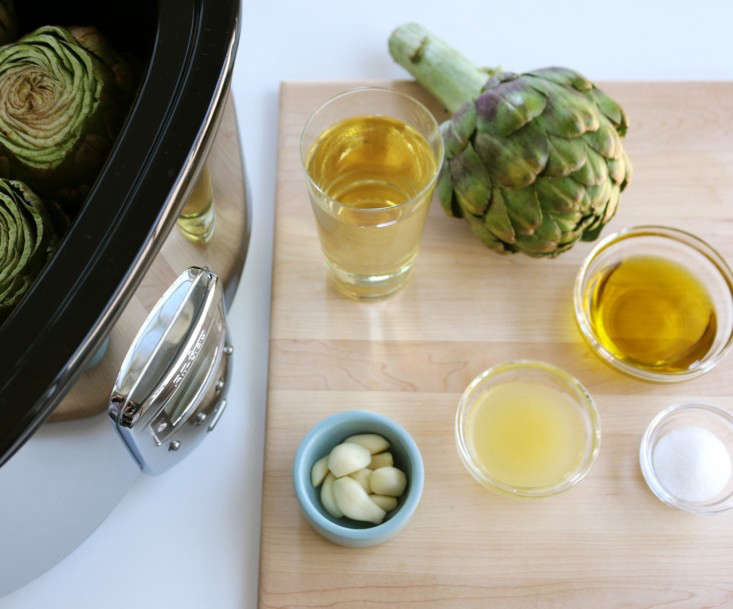 Artichokes prepared for the slow cooker, Gardenista