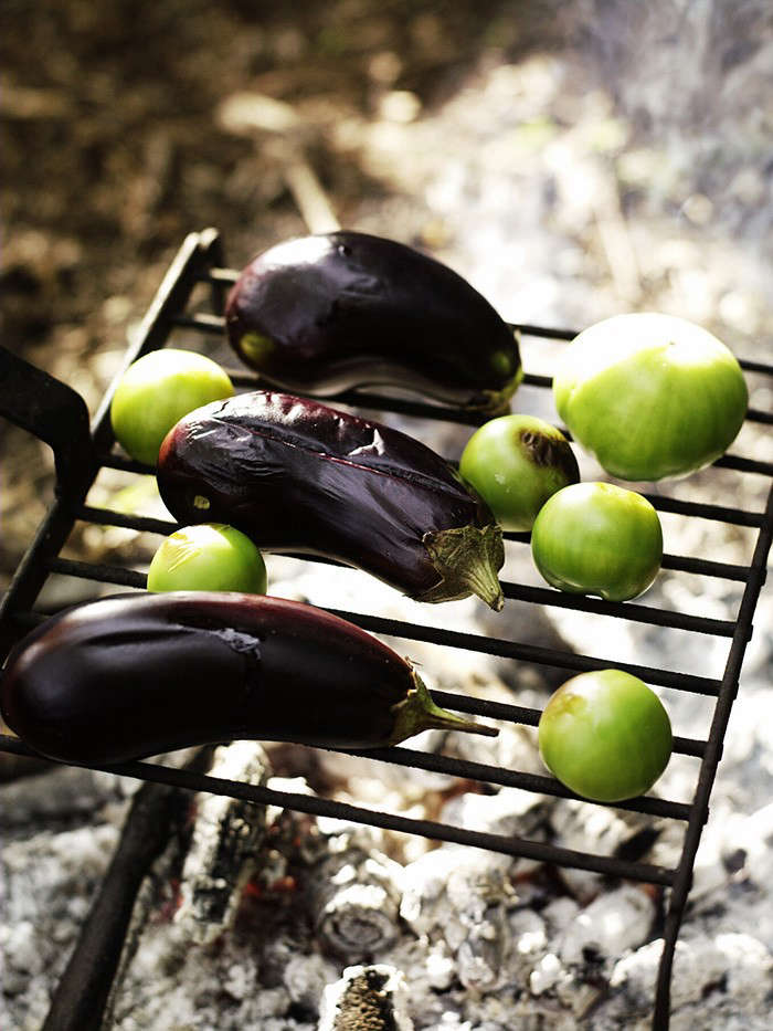 Cleve toms and aubergine on grill