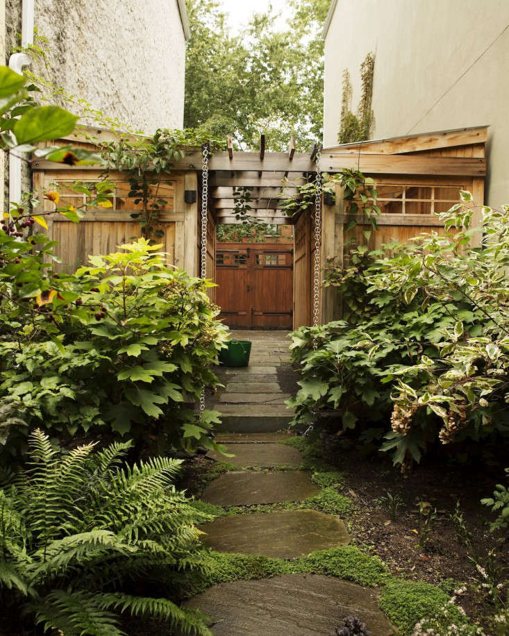 Kim Hoyt Architect Boerum Hill Project with Landscaping over Slate Walkway and Wood Arbor and Gates, Gardenista