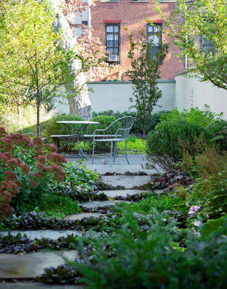 Kim Hoyt Lincoln Place Garden After Rain with Garden Path and Greenery, Gardenista
