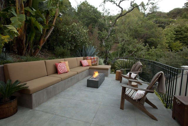 Pedersen Associates Outdoor Patio in Marin with Built in Concrete Bench and Modern Outdoor Firepit, Gardenista