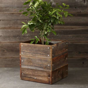 Reclaimed Wood Square Planter, Gardenista