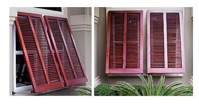 Hardscaping 101 exterior wooden shutters gardenista for Bermuda style exterior shutters