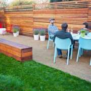 San Francisco Garden with Outdoor Dining and Wood Bench
