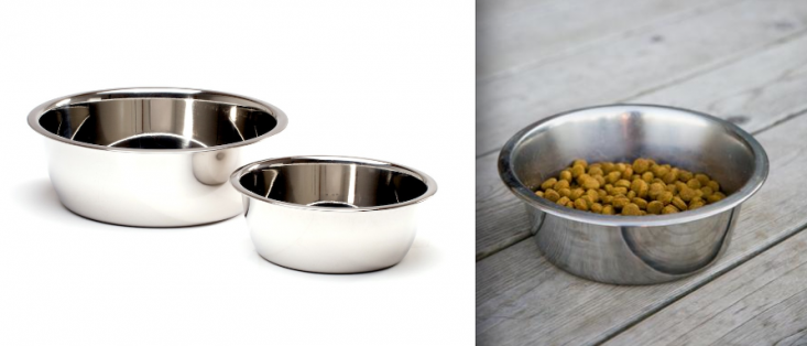 Stainless steel dog food bowls, Gardenista