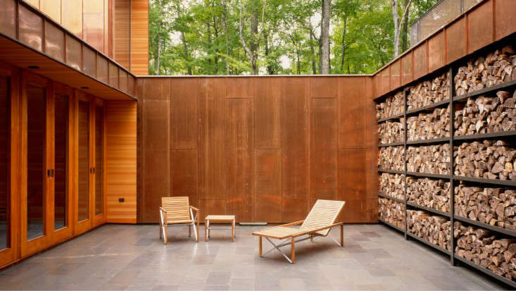 Type Variant House Outdoor Wood Storage Pile and Courtyard of Corten Steel, Gardenista