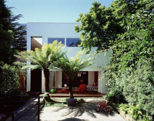 View across courtyard of converted garage, Gardenista