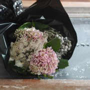 Winter Romance Bouquet, hydrangea's and chocolate queen annes lace