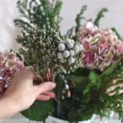 Winter Romance, Silver Brunia Bouquet, assembly