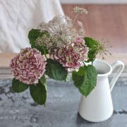 Winter Romance, Silver Brunia Bouquet, pink hydrangea and chocolate queen annes lace