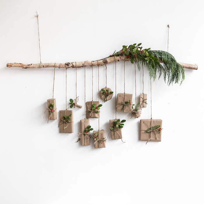 advent calendar diy tree branch gardenista