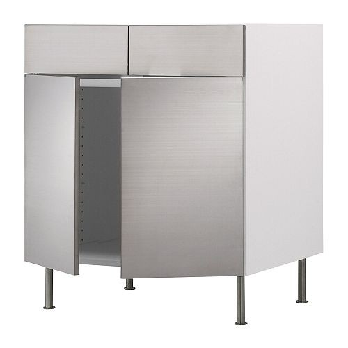Akurum base cabinet faced with rubrik stainless steel for Stainless steel kitchen base cabinets