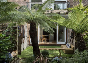 London garden Christine Hanway backyard tree fern artificial grass turf ; Gardenista