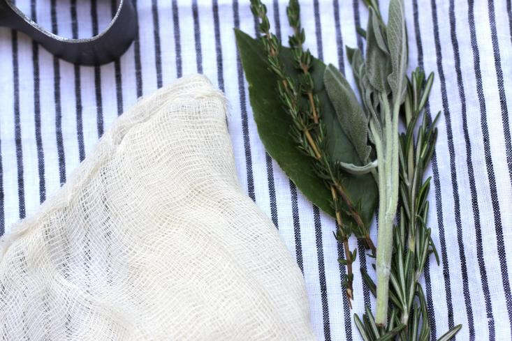 cheesecloth and herbs