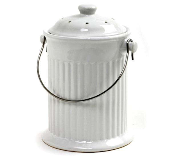 compost pail white ceramic nature mill